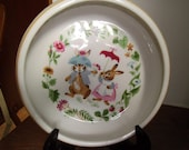 FREE SHIPPING/USA - Bunnies decorated vintage Childs Dish made by Tot Trainer