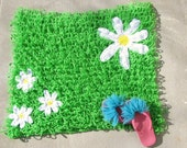 Green Grass Daisy Rug