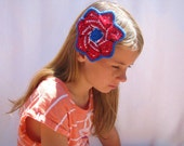 July 4th Hair Clip Americana Red White and Blue Patriotic Mandala Flower