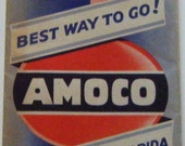 Vintage Amoco American Oil Company Map Massachusetts Connecticut Rhode Island