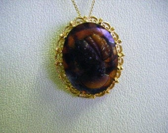 Unique Carved Cameo in Gold Setting With Gold Necklace