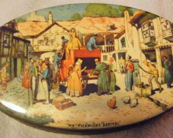 Antique Mr Picwicks Arrival Full Color Confectionary Tin From York England