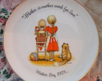 1973 Mother is Another Word For Love Holly Hobbie Commemorative Edition Porcelain Plate