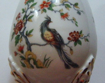 Antique Limoges Scalloped Open Egg Shaped Footed Bowl with Birds and Flowers Design