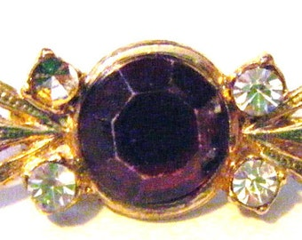 Vintage Beautiful Ruby Red Stone with Rhinestones Brooch