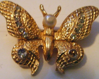 Vintage Gold Rhinestones and Pearl Butterfly Pin or Brooch