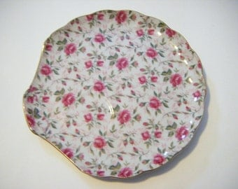 Lefton Rose Chintz China Luncheon Plate With Crown Mark Rimmed In Gold