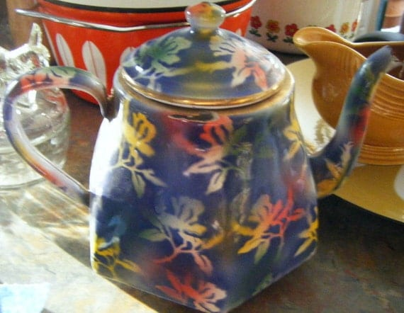 Antique Graniteware Enamelware Multi Colored Coffeepot/Teapot Possibly End of Day