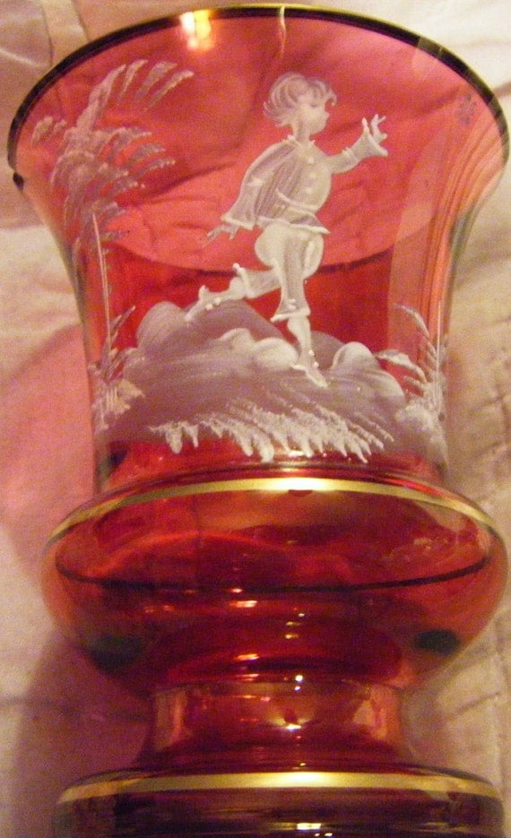 Items Similar To Antique Mary Gregory Cranberry Glass Vase With White Enameled Victorian Child