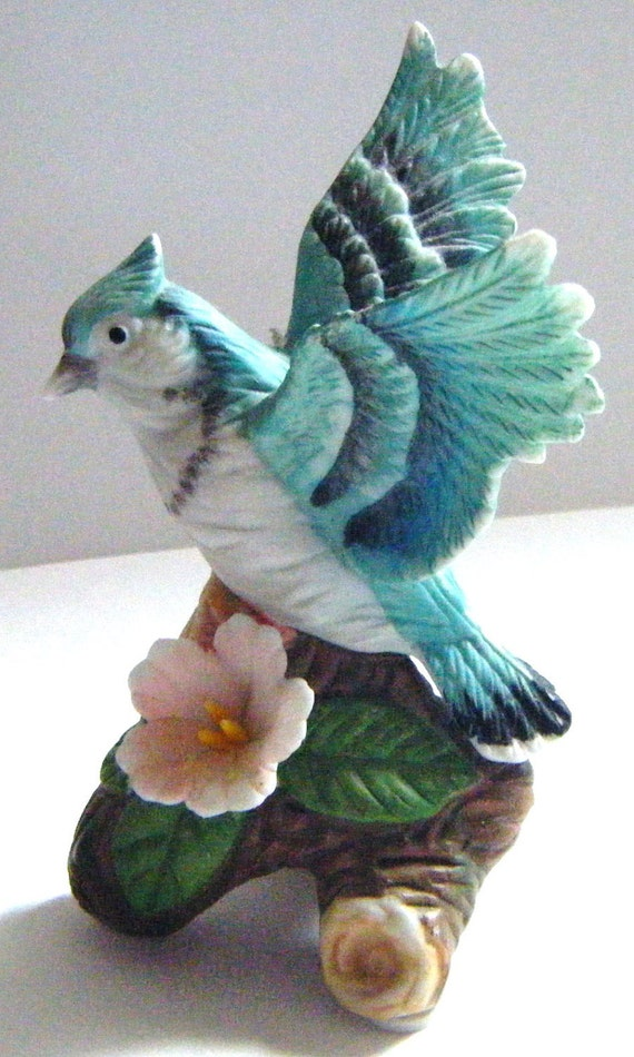 Lovely Figural Bluejay Bird With Wings Outstretched and Delicate Flower at Feet Figurine