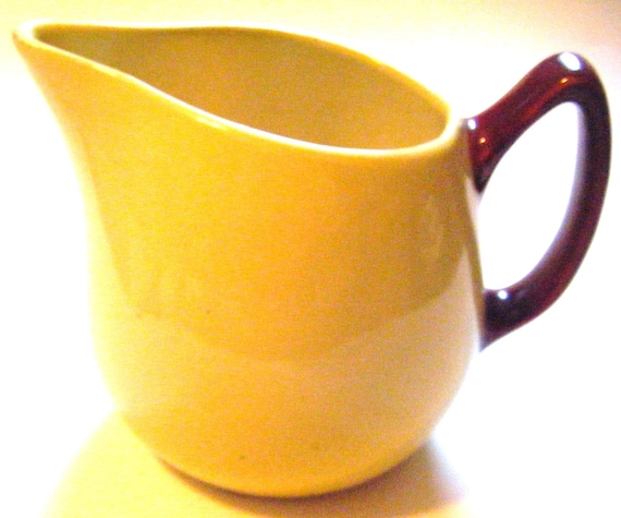 Vintage Hull Pottery Creamer Two Tone Yellow With Brown Handle Well Marked