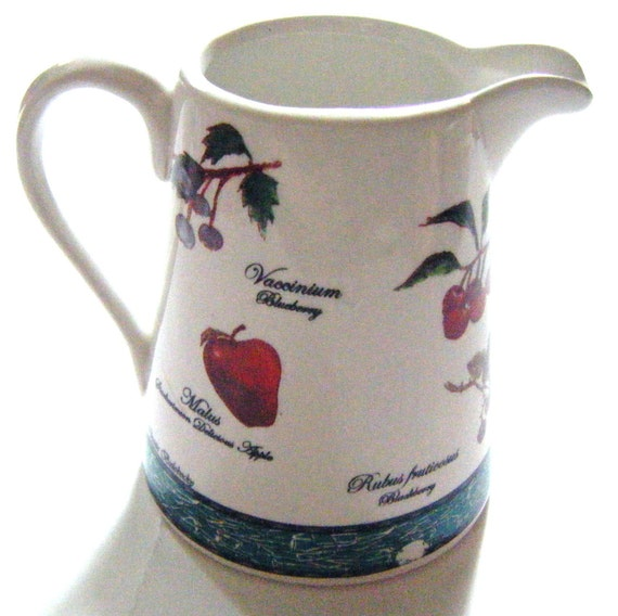 Vintage Fruit Botanica Blue Ridge or Villeroy and Boch Latin and English Different Fruit All Around Creamer or Pitcher