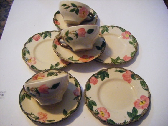 Franciscan Pottery Desert Rose Pattern Hand Decorated Pottery Nine Pieces For One Money!