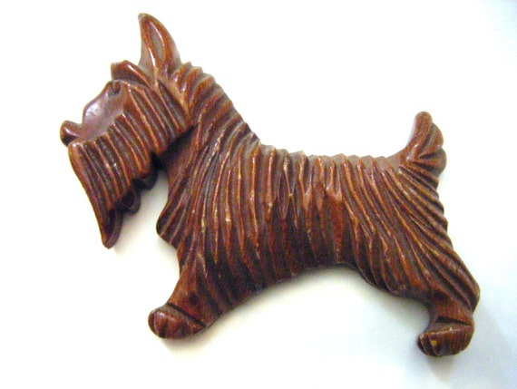 Hand Carved Wood Scotty Dog For Brooch Jewelry or Upcycle Vintage