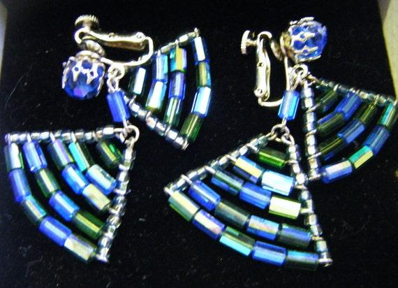 Irridescent Blues Greens Aqua Shimmering Beaded Clip Earrings Vintage
