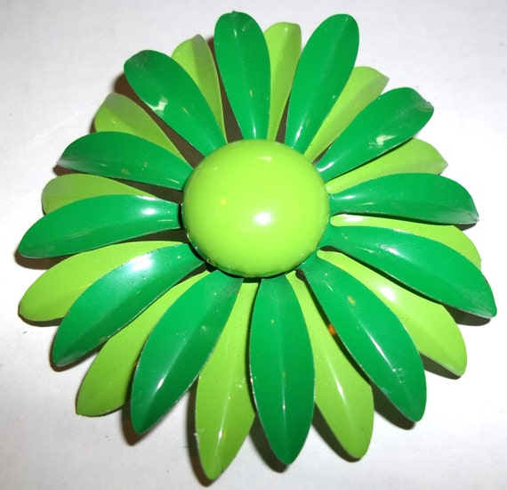 Fabulous Enameled Brooch/Pin Grass Green and Lime Green 1960's Vintage