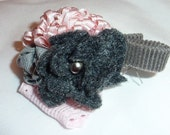 Baby Girl Pink & Gray Stretch Bracelet Pictures, Photo prop Ribbon Flower Valentines