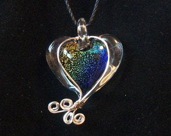 wire wrapped Glass, Spring Heart Pendant