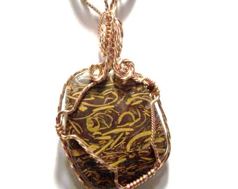 Picture Jasper ,wire wrapped pendent.