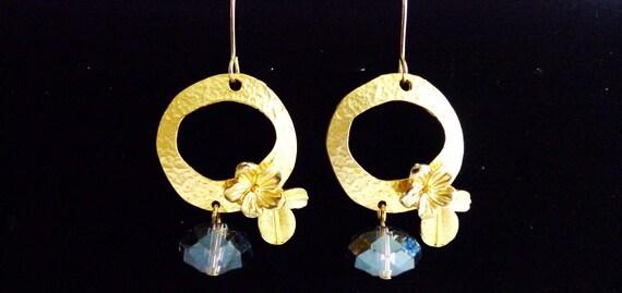 Gold Flower with Purple Bead Earrings