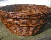 Large Circular Chunky Willow Basket, Plaited border, Natural Rusty Red coloured,  (ref. 29)