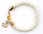 Nautical White Rope Bracelet with Gold Anchor - Merriweather bracelet