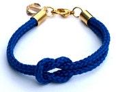 Cobalt Blue Nautical Rope Bracelet with Gold Anchor - Skipper Bracelet