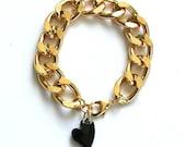 Gold Chain Bracelet with Black Swarovski Heart Crystal