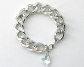 Silver Chain Bracelet with Swarovski Heart Crystal AB