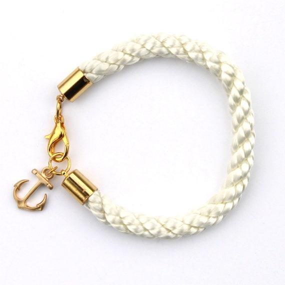 Nautical White Rope Bracelet with Gold Anchor - Merriweather bracelet