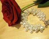 Snowy White Cluster Bracelet ----- Custom made for Lydia