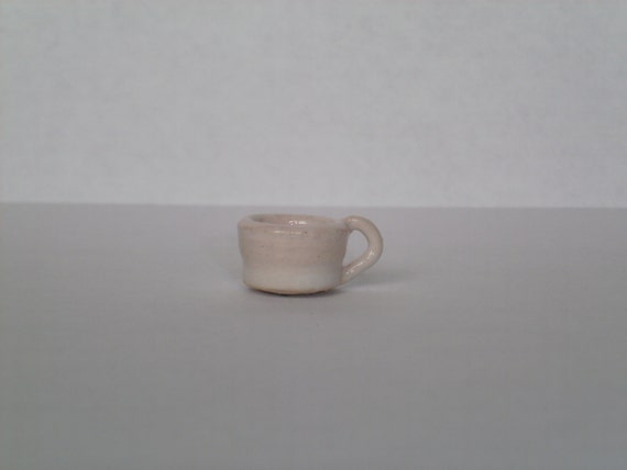 New Handmade Hand Thrown Pottery Miniature White Coffee Cup