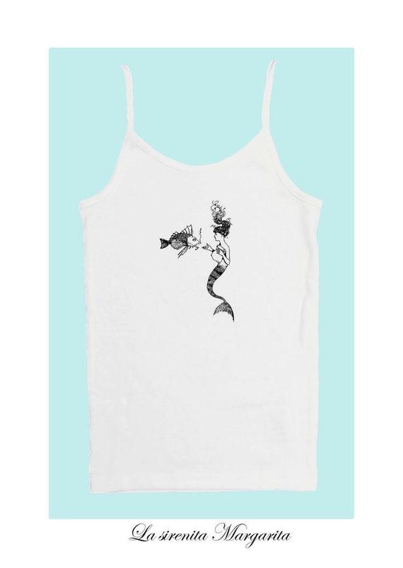 Margarita, The Little Mermaid (100% White cotton tank top with vintage little mermaid print)