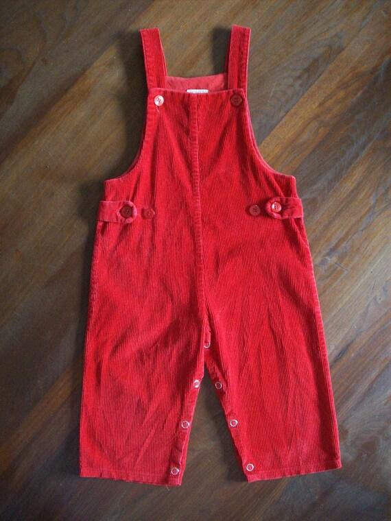 Vintage Little Ones 24m Red Corduroy Bib Overalls