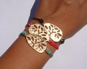 Sale.... Originally 15.99 Now only 9.99. Gold Tree of Life Friendship Bracelet. In black, red or mint green. You Choose.