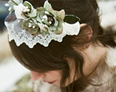 Veiled floral head wreath with teal flowers and pearls