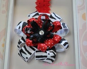 Funky Zebra Print and Red Polka Dot Ribbon Flower Headband for infant, toddler up to preteen