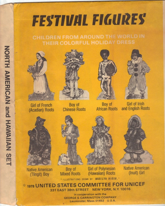 "FESTIVAL FIGURES published by UNICEF in 1978. These are 13"" high cardboard cutouts of Children From Around the World in Holiday Dress"