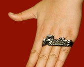Personalized 3 & 4 Finger Ring - Black Base(Made To Order)