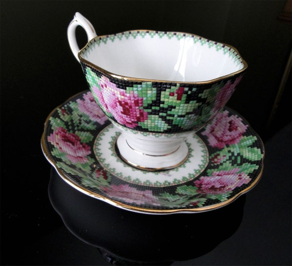 Vintage Tea Cup and Saucer Set Royal Albert Needle Point Design in Black Pink and Green with gold rim very pretty