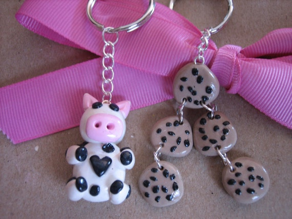 Polymer Clay Best Friends Milk Cow And Chocolate Chip Cookies Charm Cute Key Chain Set