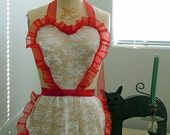 Lace Apron with organza ruffles and ties