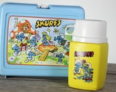 80s Blue Smurfs Lunch Box and Thermos Plastic Cartoon