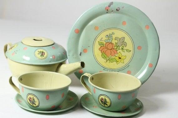 30s Floral Childs Tin Tea Set