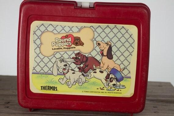 Vintage 80s Red Pound Puppies Lunch Box . Dog Animal Kitchen