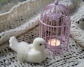 Dove and birdcage tea light holder