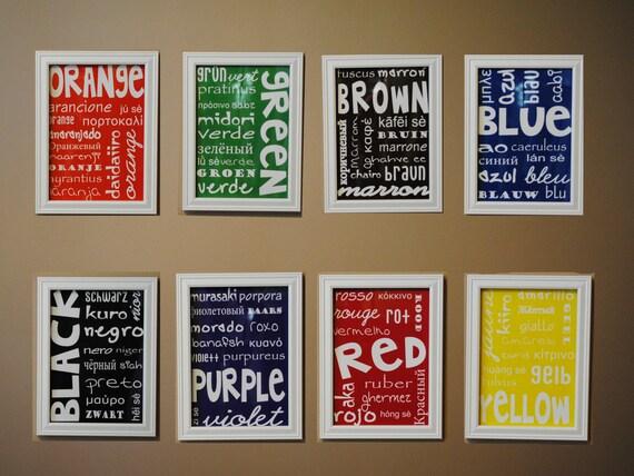 items similar to colors wall art nursery playroom decor 8x10 set of 8 on etsy. Black Bedroom Furniture Sets. Home Design Ideas