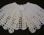 Girls Cape Shawl Crocheted White Lacy  SZ 9 mos - 2T