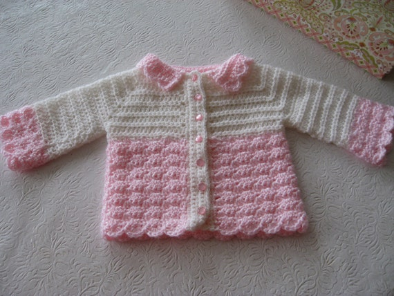 Baby Girl Sweater Cardigan Layette Pink and White, Newborn - 3 Months