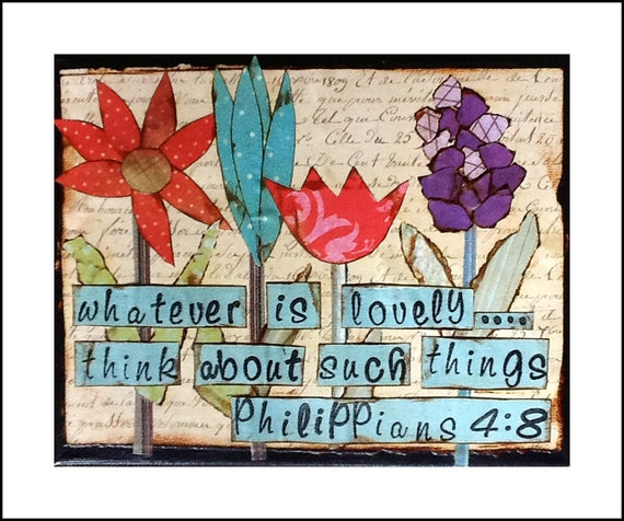 Philippians 4:8, 8x10 painted canvas w/scrapbook paper collage art and stamped bible verse, religious inspirational art